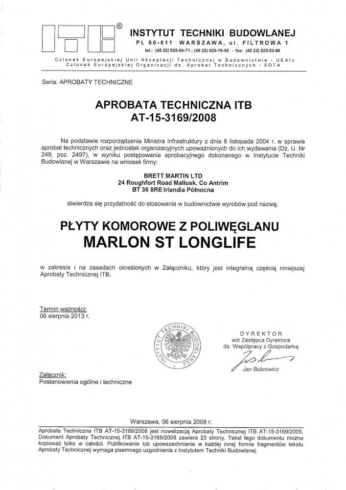certyfikat płyty komorowe