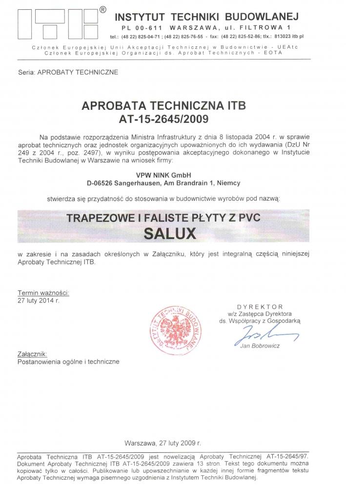 certyfikat trapez pcv